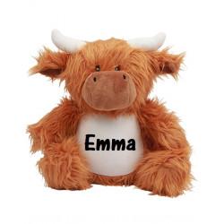 Långhåret ko bamse med navn på