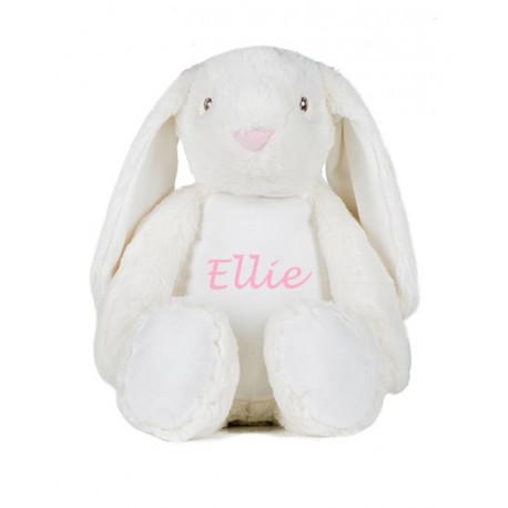 Stor hvid kaninbamse med navn på