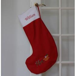 Stor rød julesok med navn og julekane