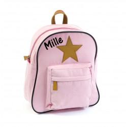 Smallstuff rosa glimmer stjerne børnetaske med navn på
