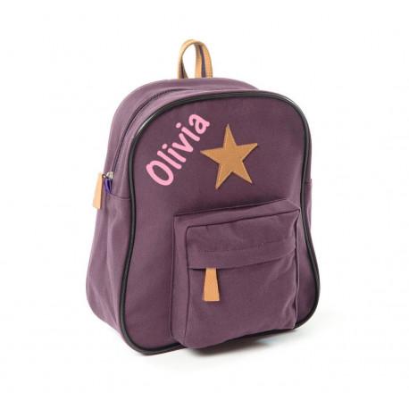 Smallstuff aubergine stjerne børnetaske med navn på