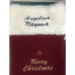 Mørkerød uld julesok med navn på