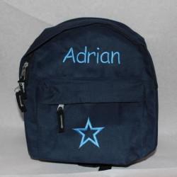 Mørkeblå mini rygsæk med navn på