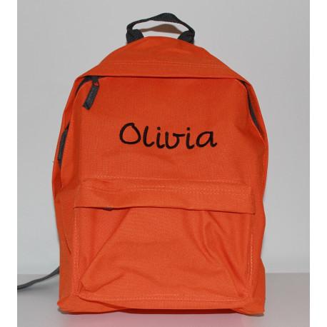 Orange junior taske med navn på