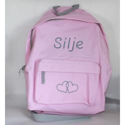 Lyserød junior taske med navn på