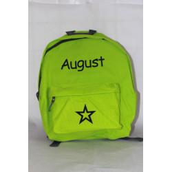Limegrøn junior taske med navn på