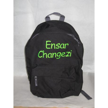 Sort skole rygsæk med navn på