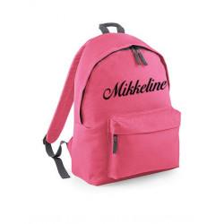Kraftig lyserød skolerygsæk med navn på