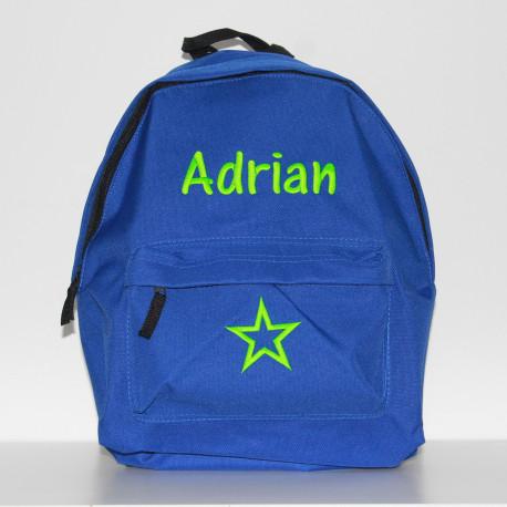 Blå junior taske med navn på