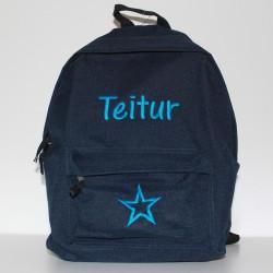 Mørkeblå junior taske med navn på