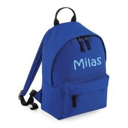 Blåbørne taske med navn på