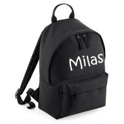 Sort børne taske med navn på