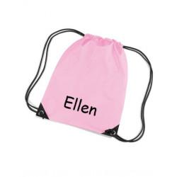 Lyserød gymnastikpose med navn på