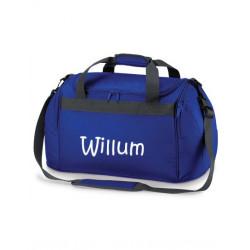 Blå Sports taske med navn på
