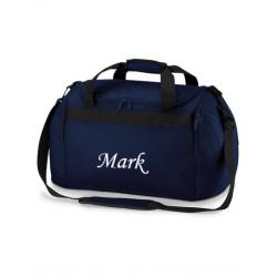 Mørkeblå Sports taske med navn på
